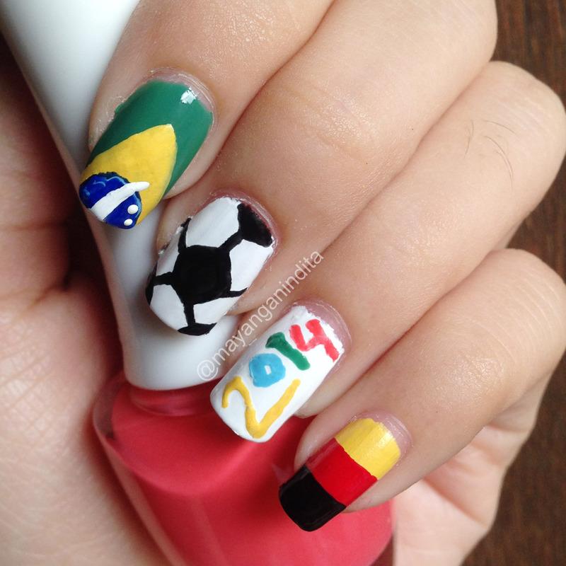 World Cup 2014 Nailart nail art by Mayang Anindita