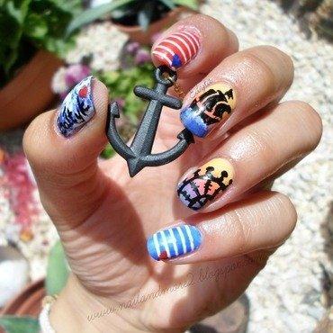 Baltic Sea nail art by Edyta