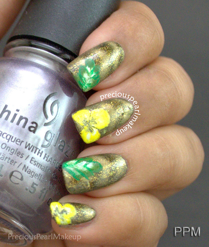 Floral One Stroke nail art by Pearl P.
