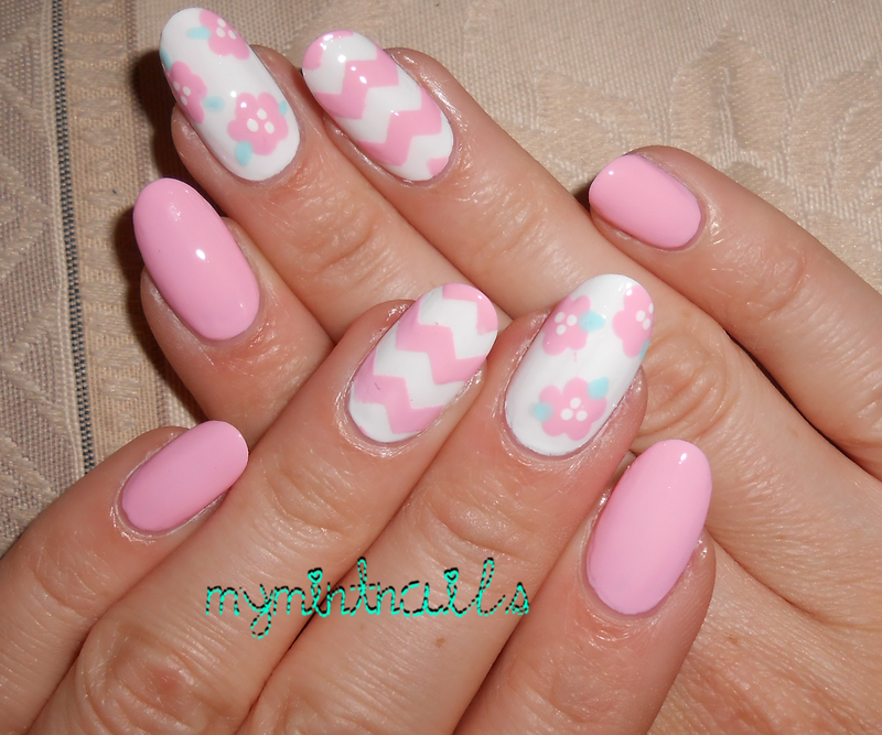 Pink Chevrons and Flowers nail art by MyMintNails