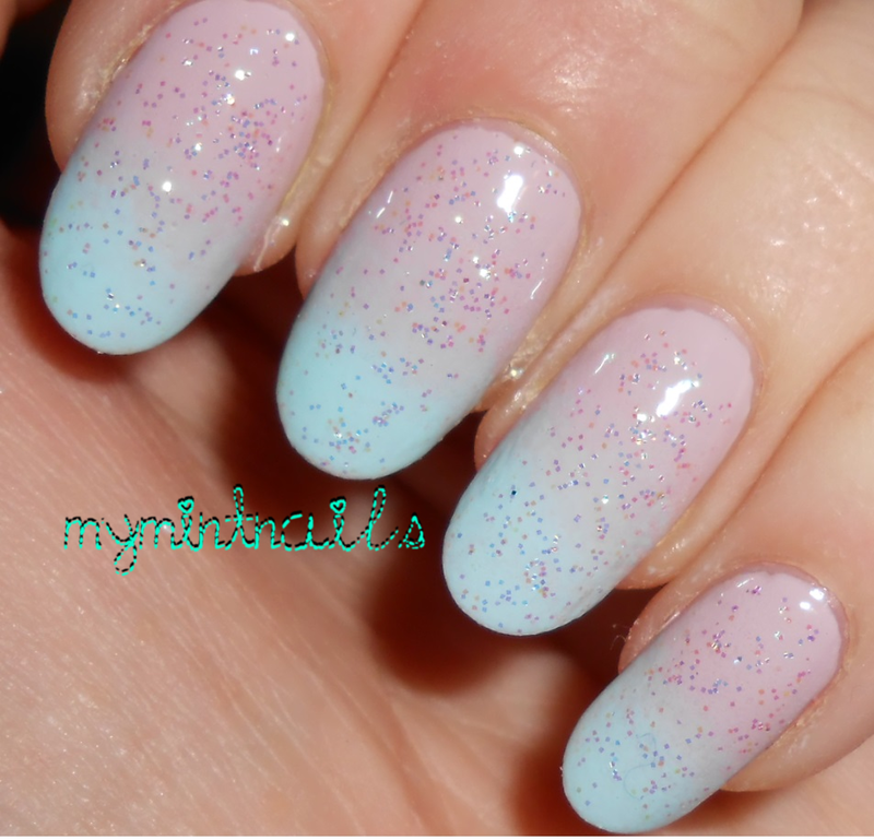 Nude to Mint Gradient nail art by MyMintNails