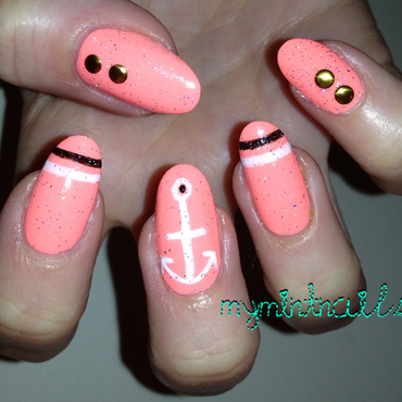 Neon Nautical nail art by MyMintNails