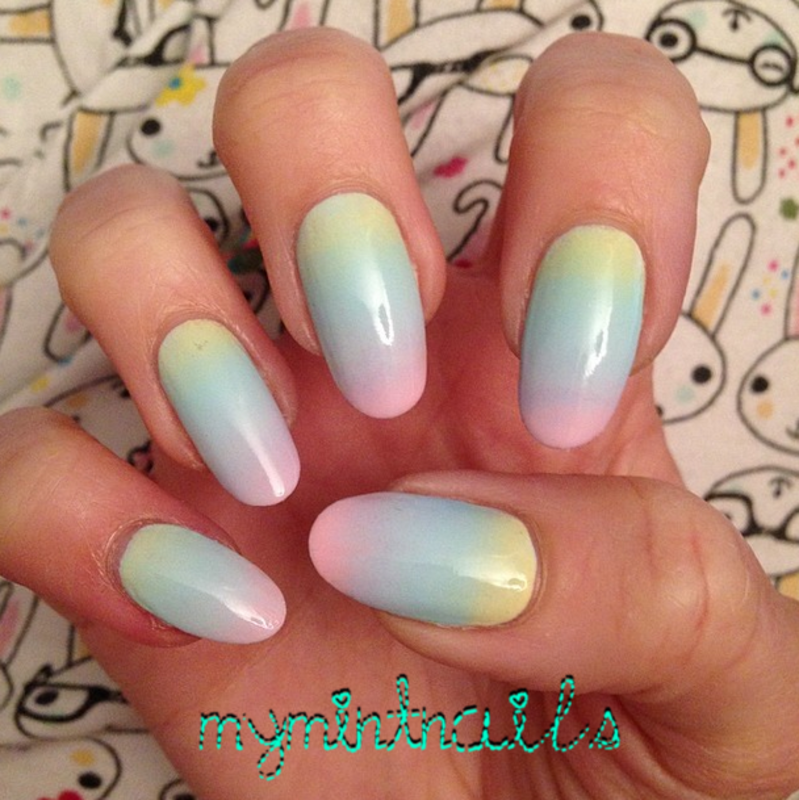 Rainbow Pastel Gradient nail art by MyMintNails