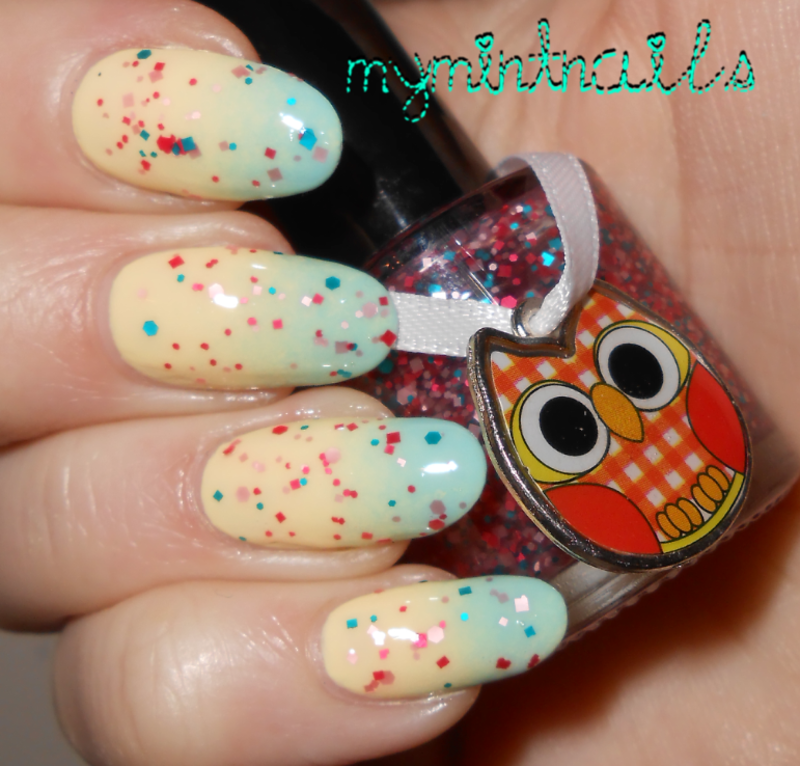 Gradient with glitter nail art by MyMintNails