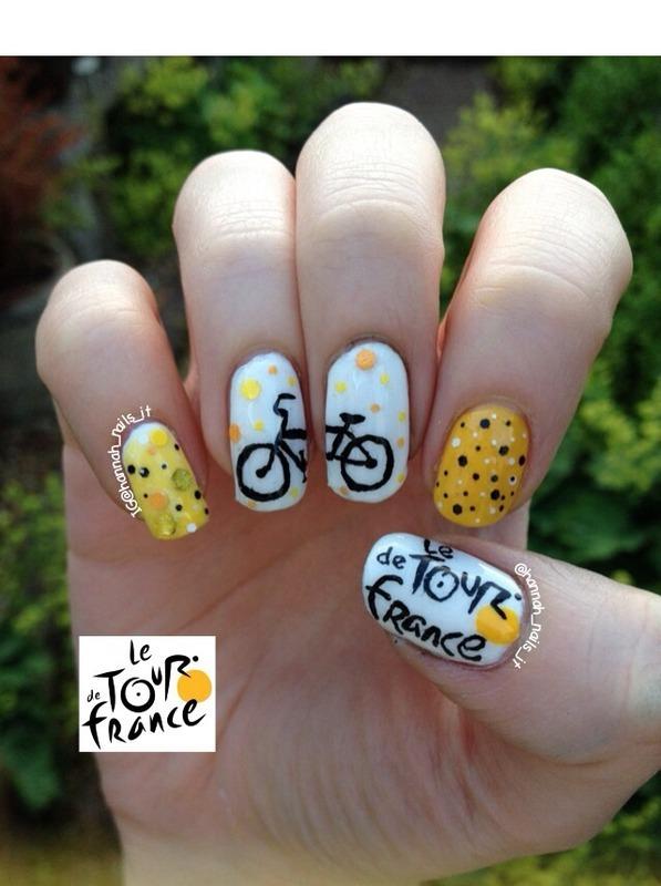 Tour de France tribute nail art by Hannah