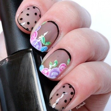 Pois flower vintage nail art by Fran Nails