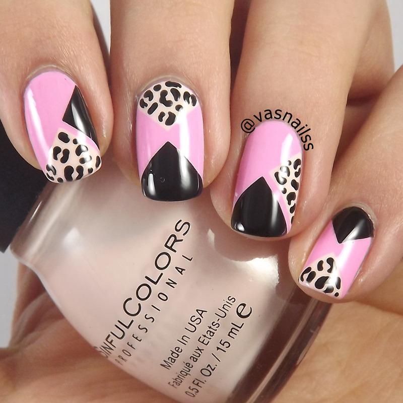 Leopard Blocked nail art by  Vanesa