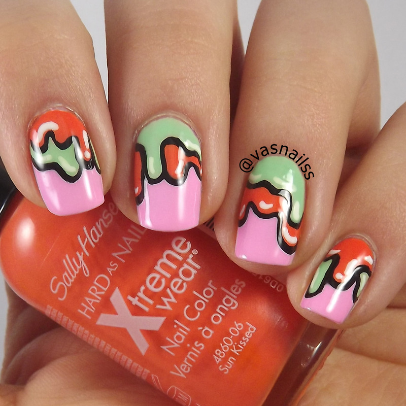 Double Dripped nail art by  Vanesa