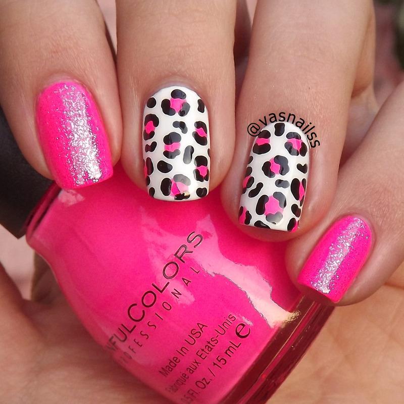 Pink Animal Print nail art by  Vanesa