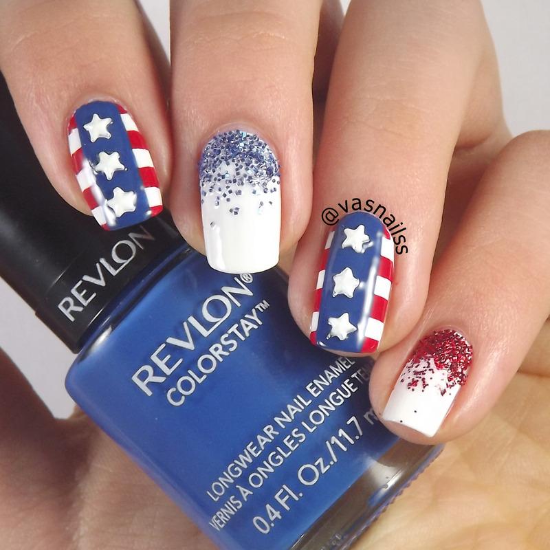 4th of July nail art by  Vanesa