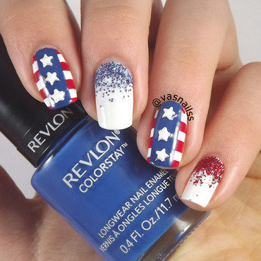 4th of July nail art by  Vanesa