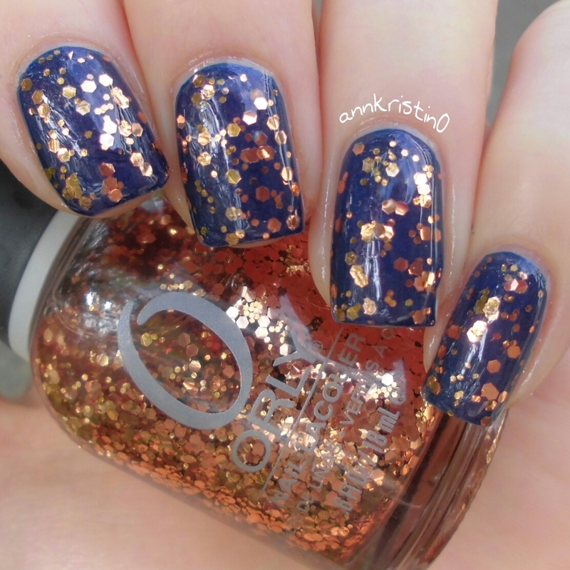 Rimmel Blue Me Away and Orly Watch It Glitter Swatch by Ann-Kristin