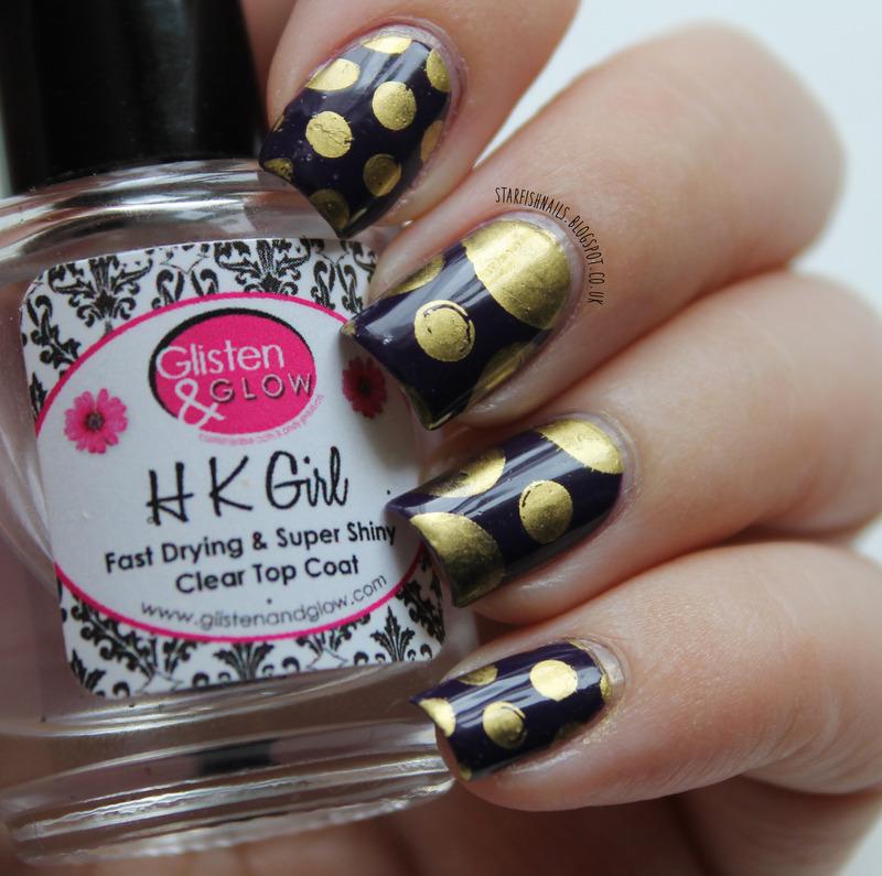 Gold Spots nail art by Lisa Yabsley