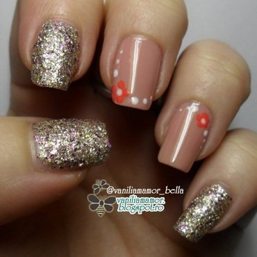 Nude with dotting flowers nail art by Isabella