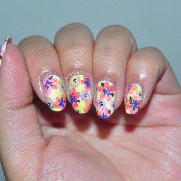 Bright watercolor floral nail art by Ramy Ang