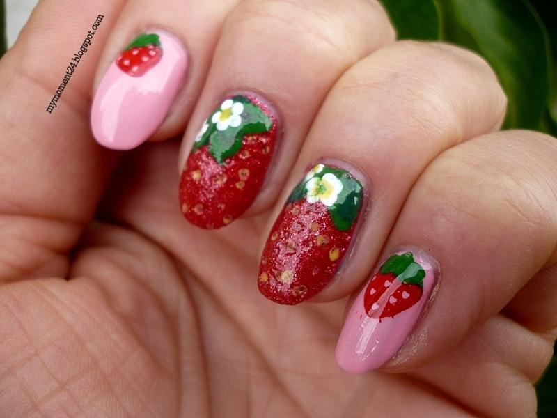 Strawberry nail art by T. Andi