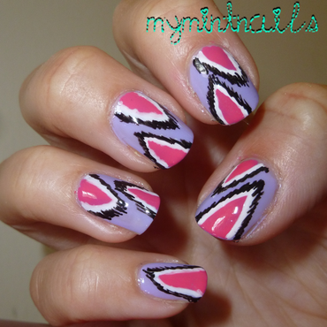 Pink and Purple Ikat nail art by MyMintNails