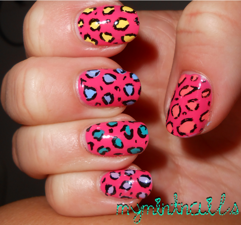 Coloured Leopard nail art by MyMintNails