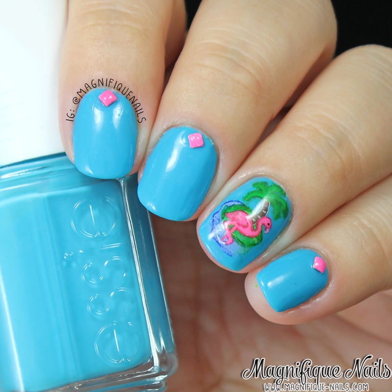 Pink Flamingo Nails nail art by Ana