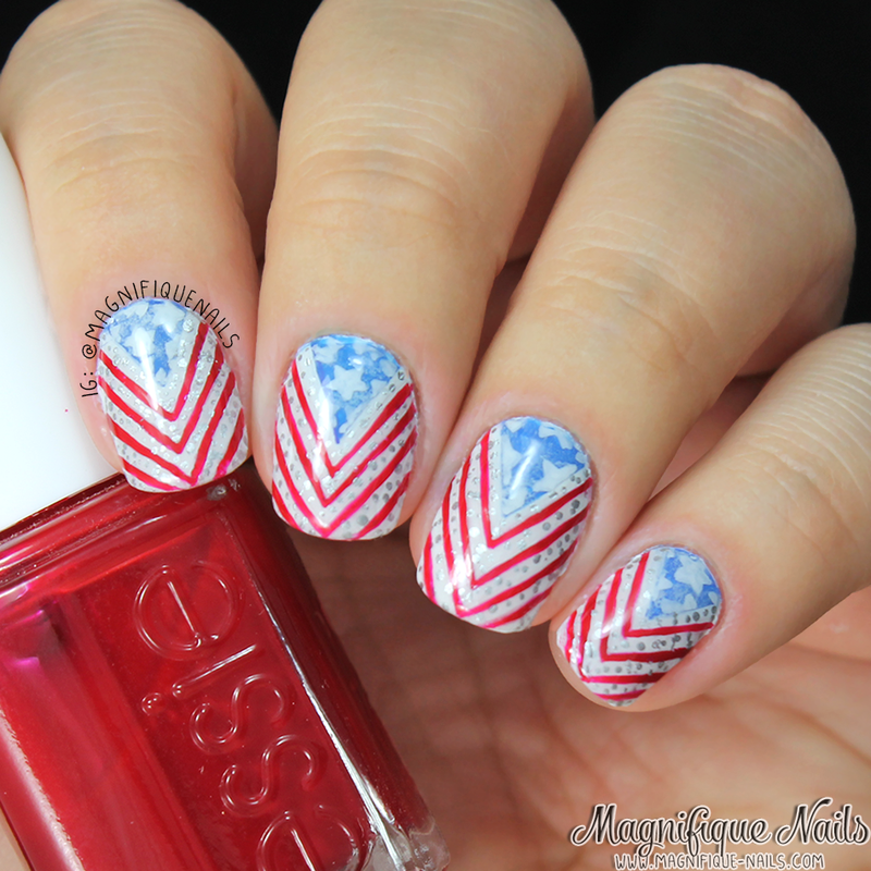 Fourth of July  nail art by Ana
