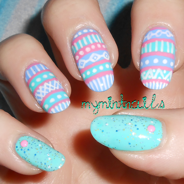 Easter Tribal nail art by MyMintNails