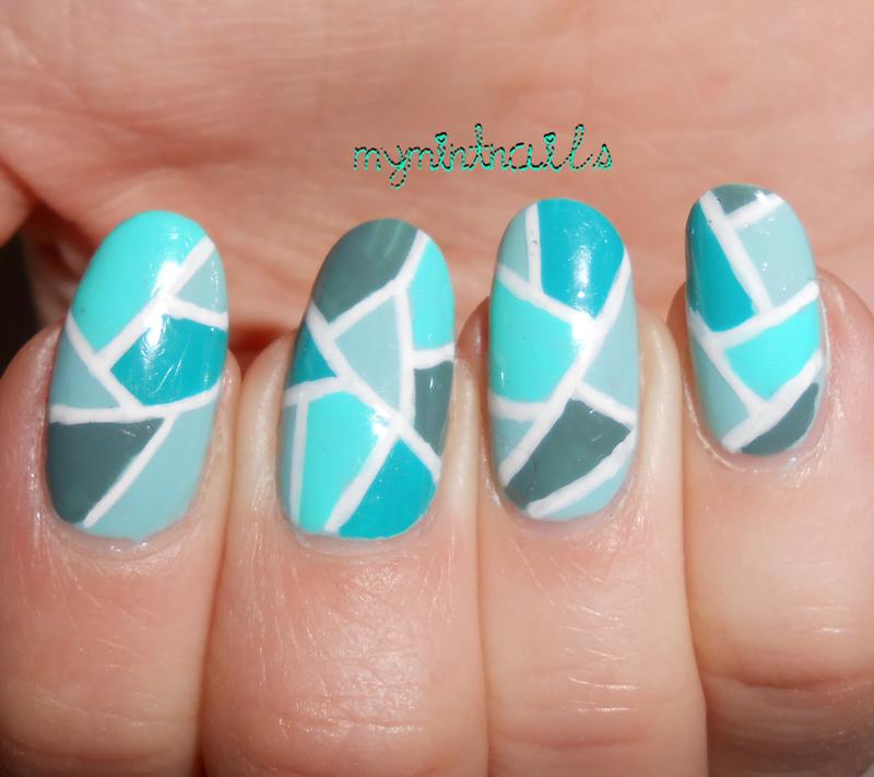 Green Mosaic nail art by MyMintNails