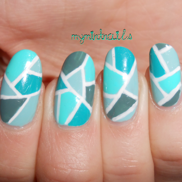 Green Mosaic nail art by MyMintNails