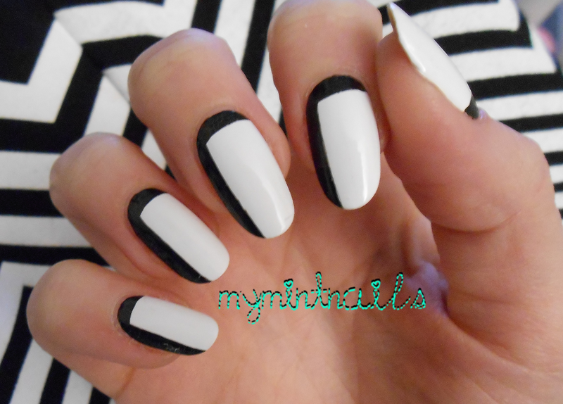 Monochrome Block nail art by MyMintNails