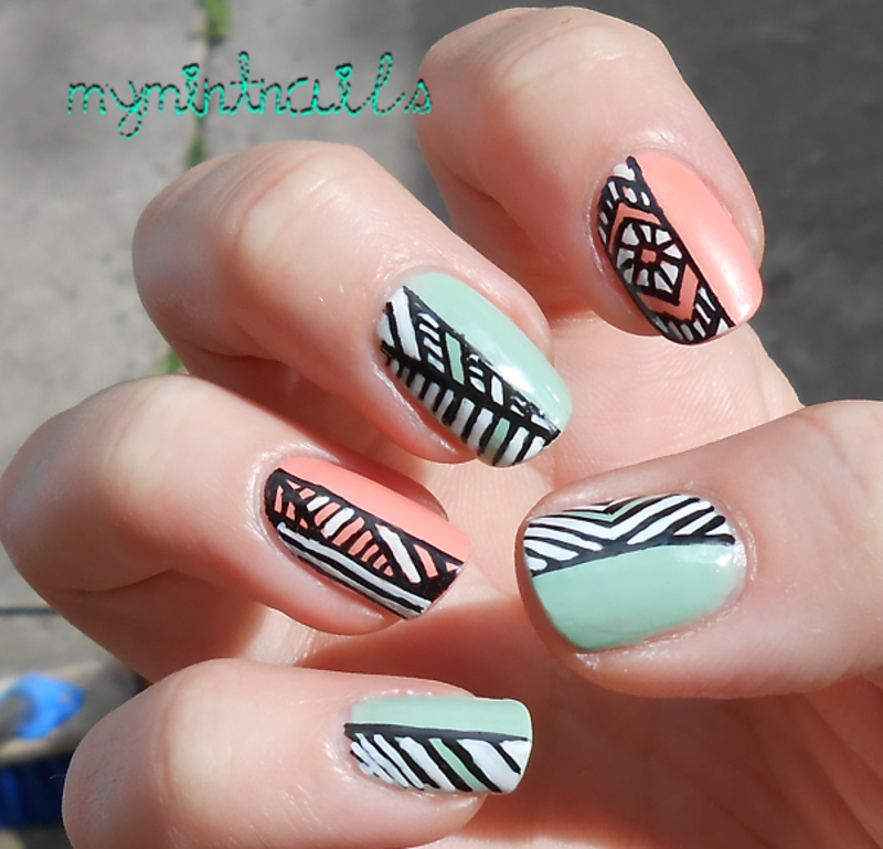 Tribal Halves nail art by MyMintNails