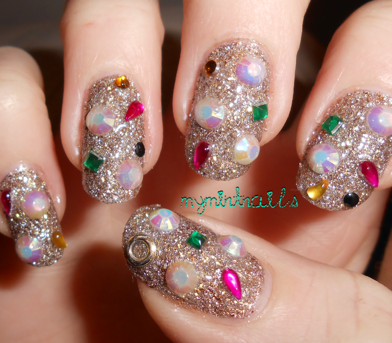 Gold Bling nail art by MyMintNails