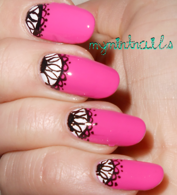Lace Half Moons nail art by MyMintNails