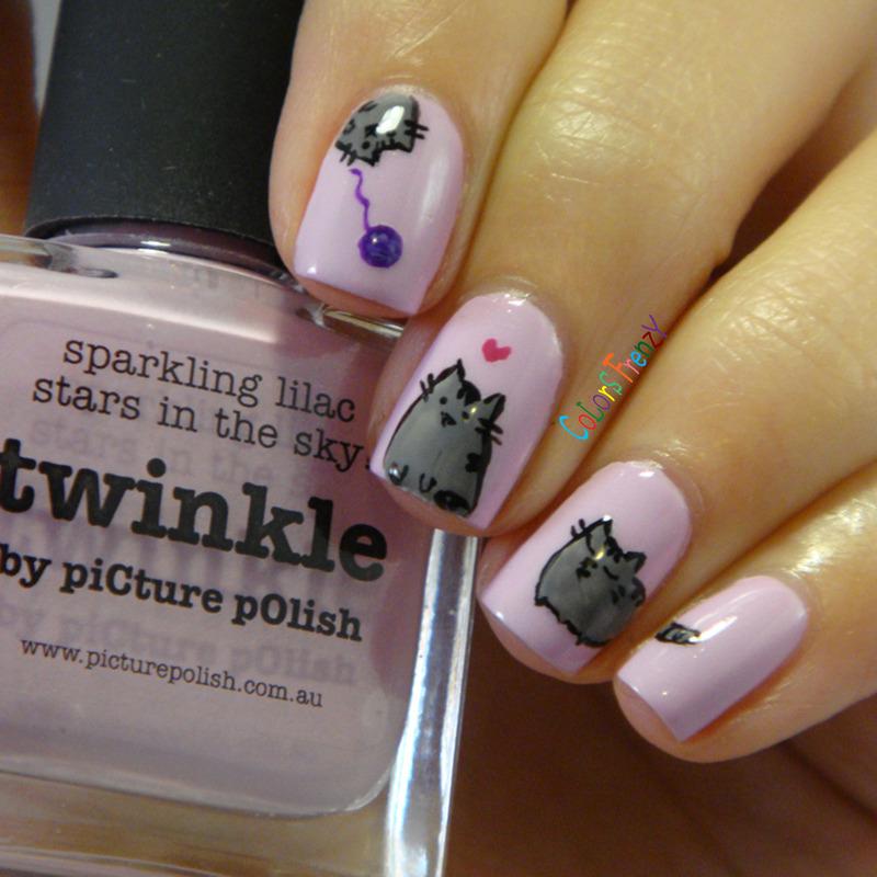 Pusheen The Cat nail art by Novi