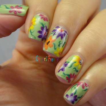 Cottage Floral nail art by Novi