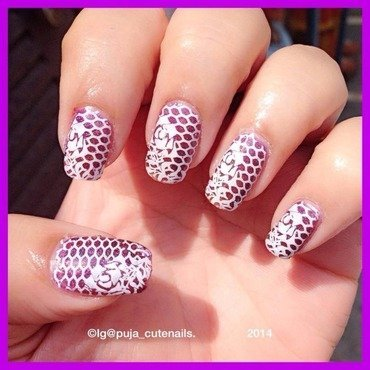Lace over holographic base  nail art by Puja Malhotra