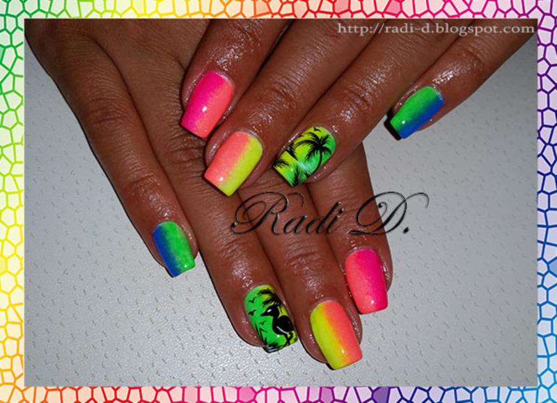 Summer Neons nail art by Radi Dimitrova