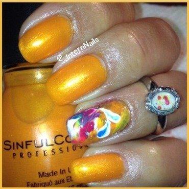 Bright Orange  nail art by Milpa  InternNails