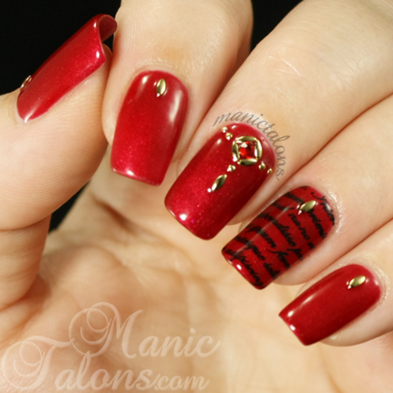 Sultry and Studded nail art by ManicTalons