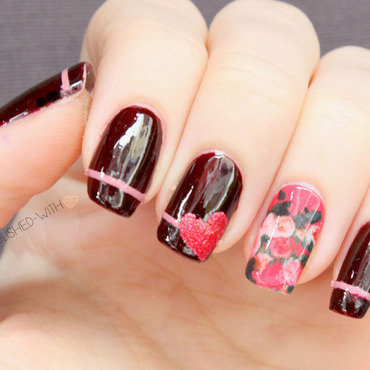 Romantic roses nail art by Jen from polished-with-love