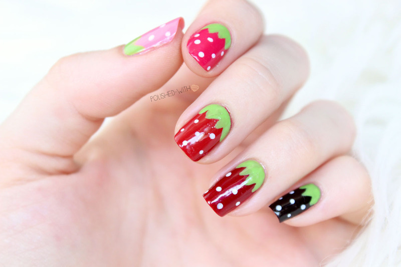 strawberry nails nail art by Jen from polished-with-love
