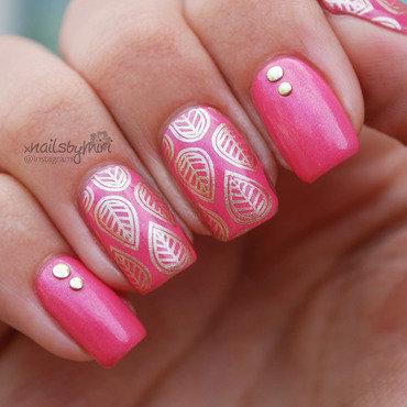 Pink and Gold stamping nail art nail art by xNailsByMiri