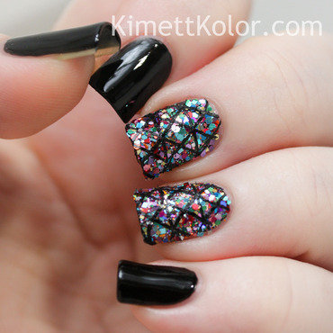 Glitter Topped Nails with Stamping nail art by Kimett Kolor