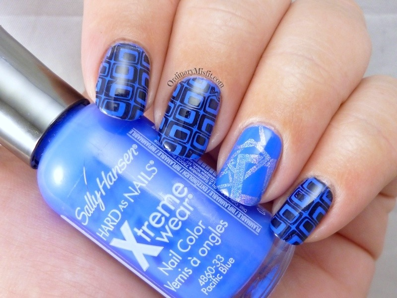 Blue squared nail art by Michelle