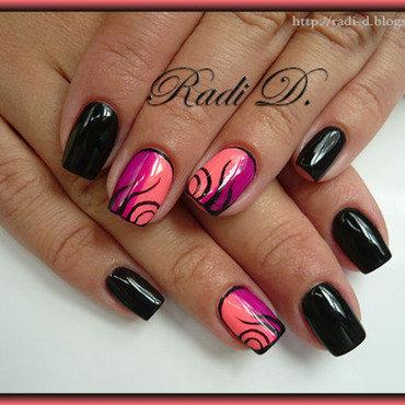 Black & Neons nail art by Radi Dimitrova