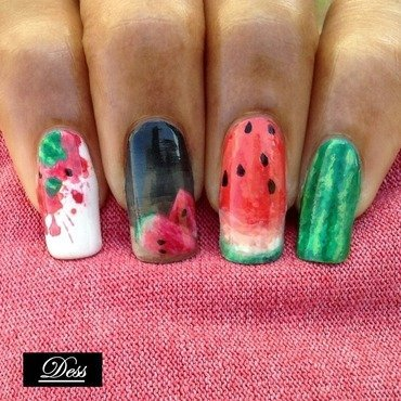Squished, diced, sliced and whole nail art by Dess_sure