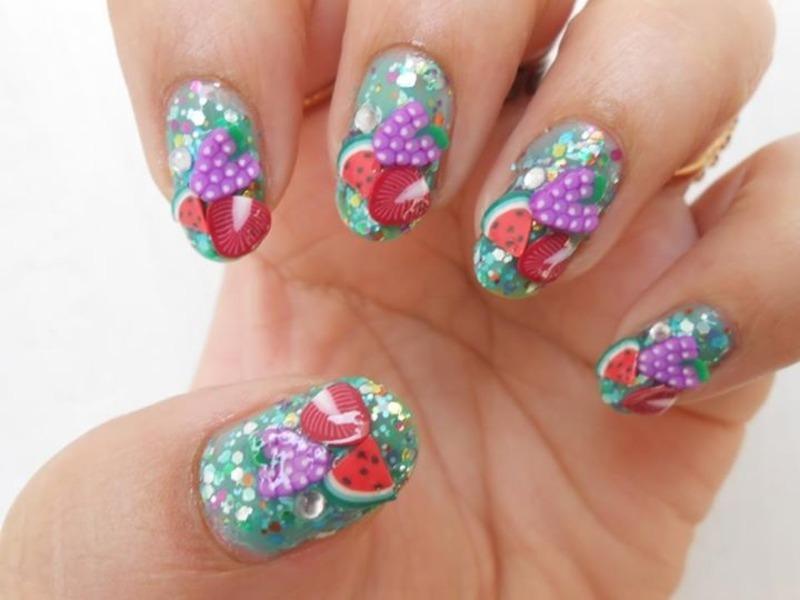 Fimo fruit nails  nail art by Puja Malhotra