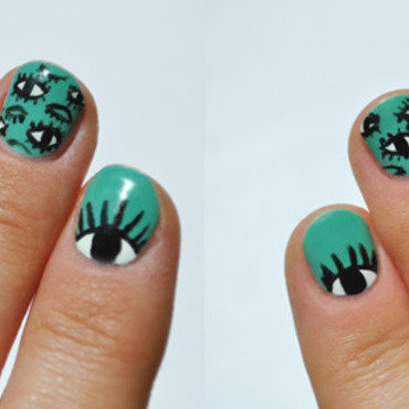 Thousand eyes  nail art by Lacquered Obsession