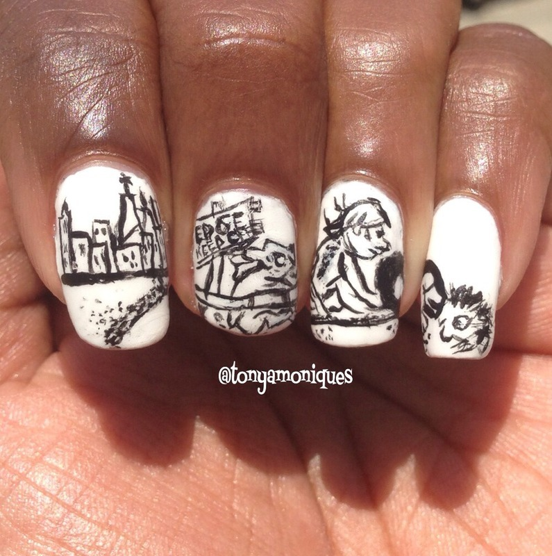 Where the Sidewalk Ends nail art by Tonya Simmons