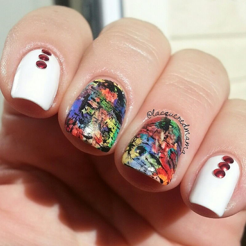 Abstract Dry Brush nail art by Jennifer Collins