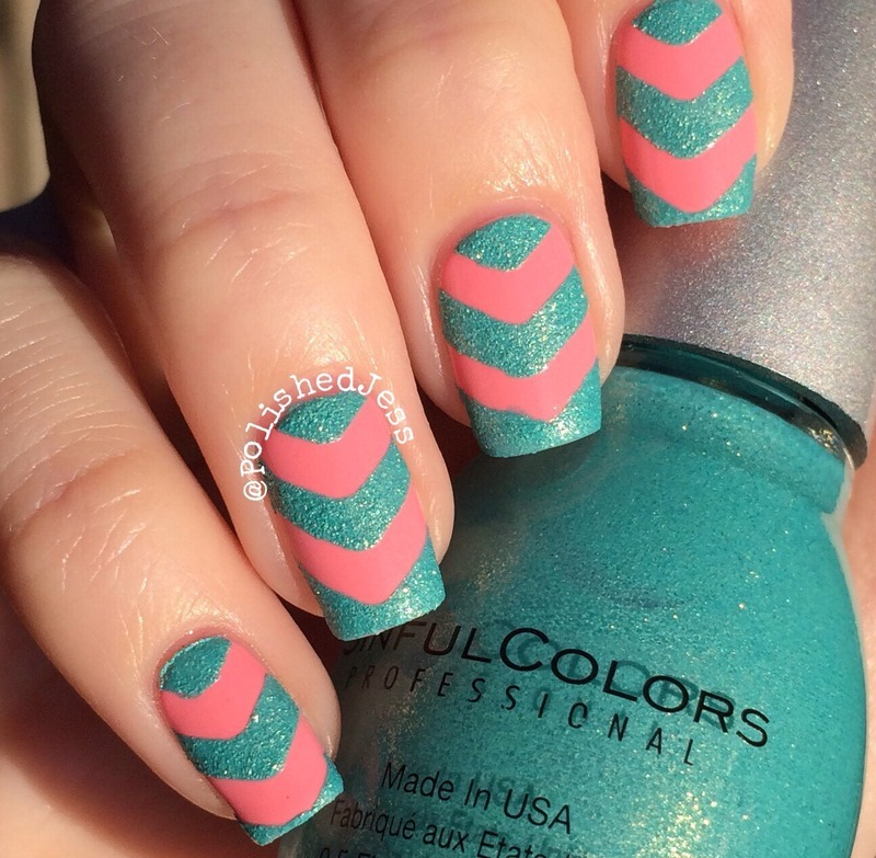 Summer Chevrons  nail art by PolishedJess