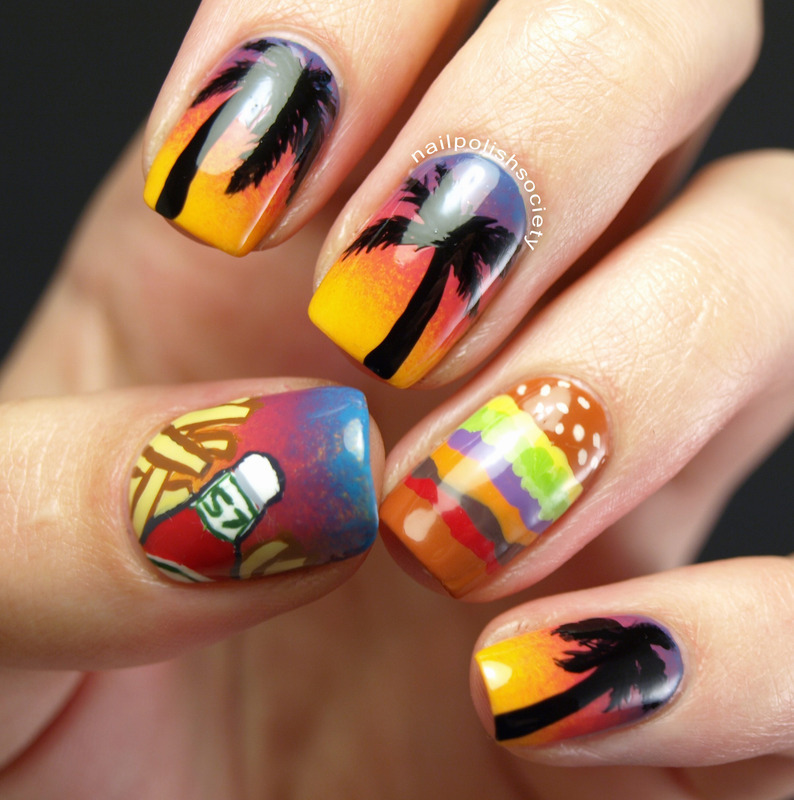 Cheeseburger In Paradise nail art by Emiline Harris